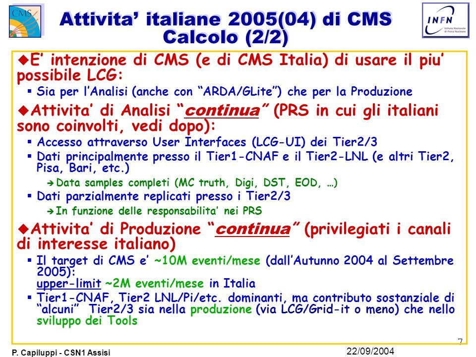 7 P. Capiluppi - CSN1 Assisi 22/09/2004 Attivita' italiane 2005(04) di CMS Calcolo (2/2) u E' intenzione di CMS (e di CMS Italia) di usare il piu' pos