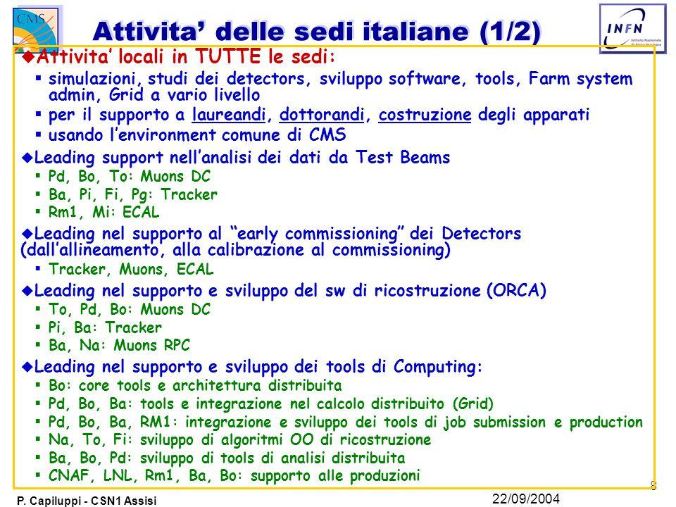 8 P. Capiluppi - CSN1 Assisi 22/09/2004 Attivita' delle sedi italiane (1/2) u Attivita' locali in TUTTE le sedi:  simulazioni, studi dei detectors, s