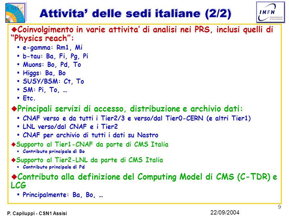 9 P. Capiluppi - CSN1 Assisi 22/09/2004 Attivita' delle sedi italiane (2/2) u Coinvolgimento in varie attivita' di analisi nei PRS, inclusi quelli di