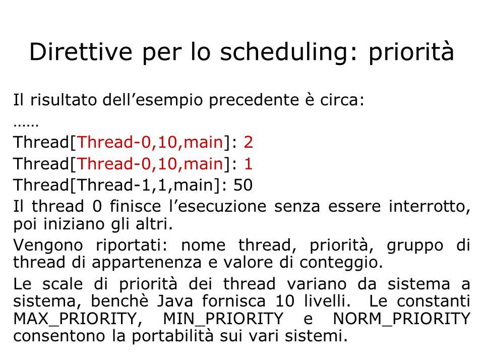 Direttive per lo scheduling: priorità Il risultato dell'esempio precedente è circa: …… Thread[Thread-0,10,main]: 2 Thread[Thread-0,10,main]: 1 Thread[