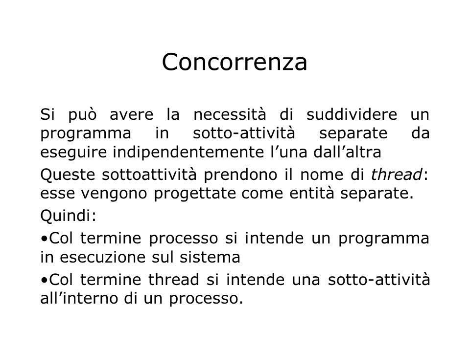 Terminazione dei thread Con Java 2 sono stati dichiarati deprecati i metodi stop(), suspend() e resume() della classe thread.
