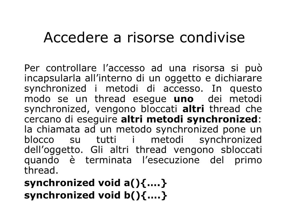 Accedere a risorse condivise Per controllare l'accesso ad una risorsa si può incapsularla all'interno di un oggetto e dichiarare synchronized i metodi