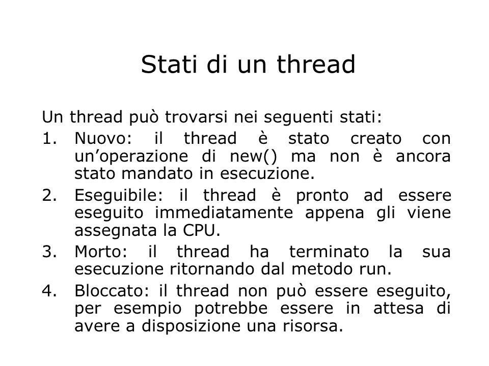 Stati di un thread Un thread può trovarsi nei seguenti stati: 1.Nuovo: il thread è stato creato con un'operazione di new() ma non è ancora stato manda
