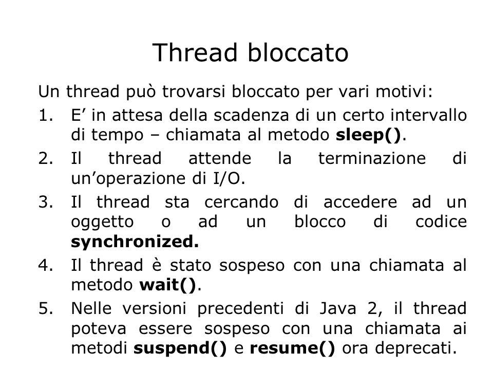 Thread bloccato Un thread può trovarsi bloccato per vari motivi: 1.E' in attesa della scadenza di un certo intervallo di tempo – chiamata al metodo sl