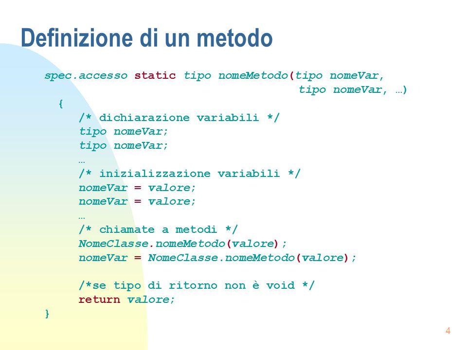 4 Definizione di un metodo spec.accesso static tipo nomeMetodo(tipo nomeVar, tipo nomeVar, …) { /* dichiarazione variabili */ tipo nomeVar; … /* inizi