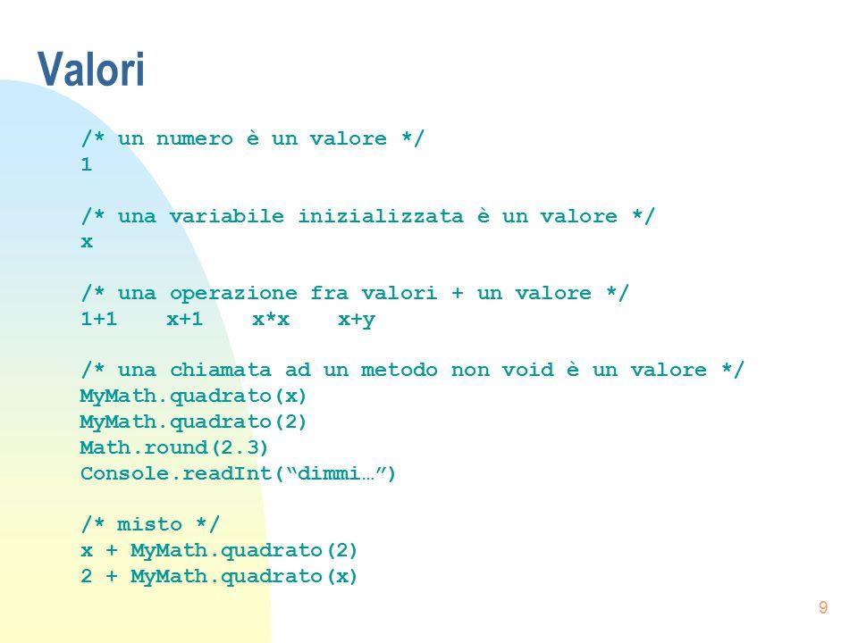 10 Definizione di un metodo public static void quadrato(int x) { /* dichiarazione variabili */ int risultato; /* inizializzazione variabili */ risultato = x * x; /* chiamate a metodi */ /*se tipo di ritorno non è void */ return risultato; }
