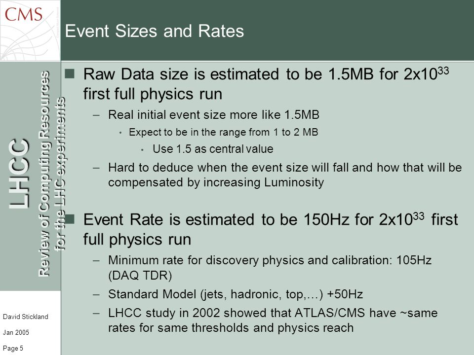 LHCC Review of Computing Resources for the LHC experiments David Stickland Jan 2005 Page 5 Event Sizes and Rates Raw Data size is estimated to be 1.5M