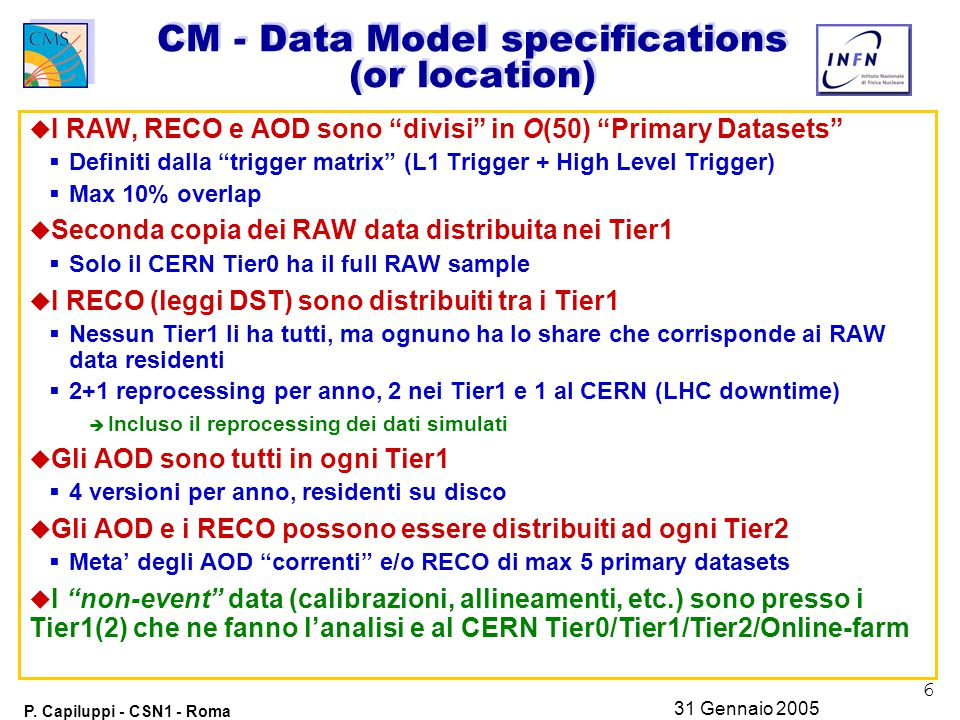 "6 P. Capiluppi - CSN1 - Roma 31 Gennaio 2005 CM - Data Model specifications (or location) u I RAW, RECO e AOD sono ""divisi"" in O(50) ""Primary Datasets"