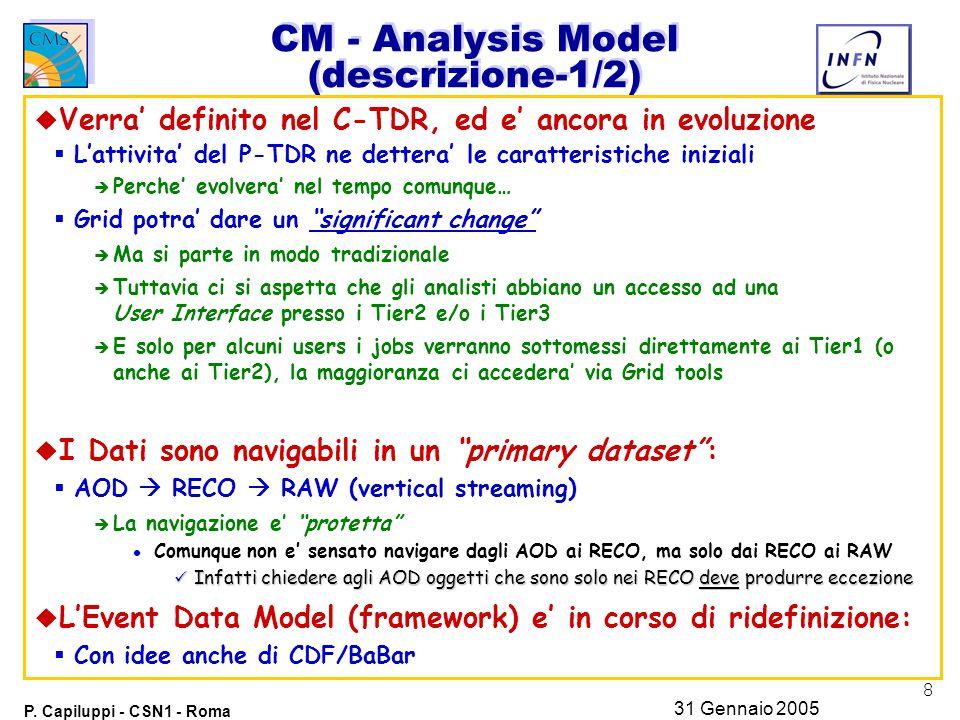8 P. Capiluppi - CSN1 - Roma 31 Gennaio 2005 CM - Analysis Model (descrizione-1/2) u Verra' definito nel C-TDR, ed e' ancora in evoluzione  L'attivit
