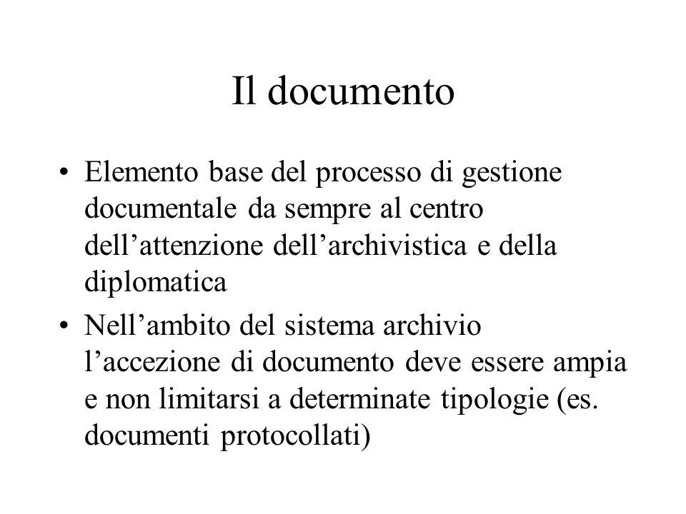 Il documento componente essenziale dell'archivio