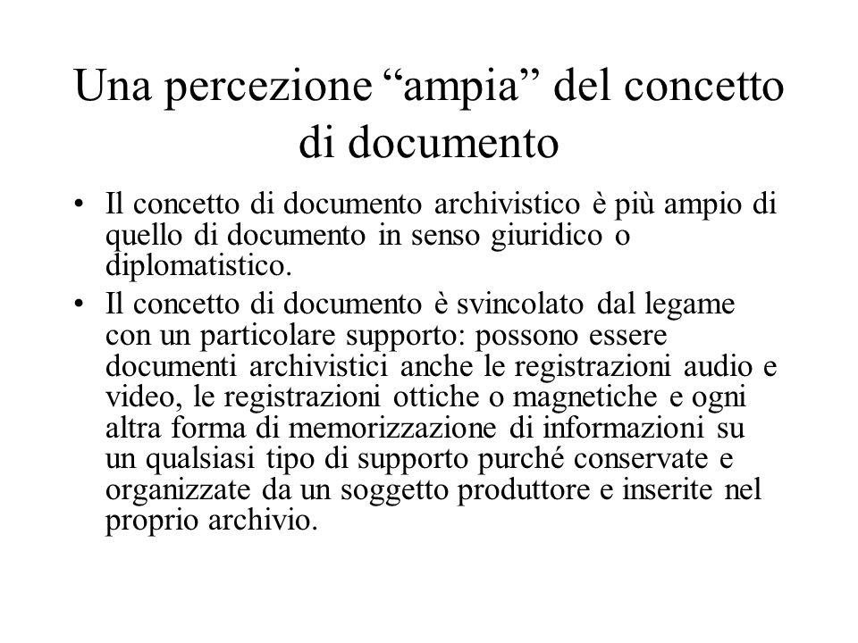 Tipologie di documenti archivistici Le possibili tipologie di documento archivistico sono molto ampie.