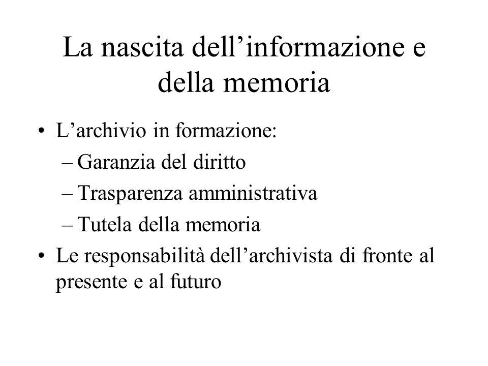 L'archivio corrente Gli archivi correnti perseguono due finalità: quella della conservazione degli atti e quella della utilizzazione della documentazione per fini amministrativi.