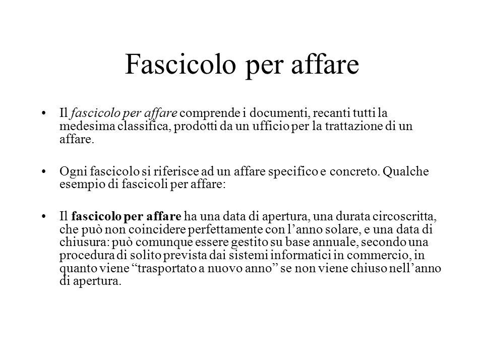 Tipologie di fascicolo 1.fascicolo per affare 2. fascicolo per persona fisica o giuridica 3.
