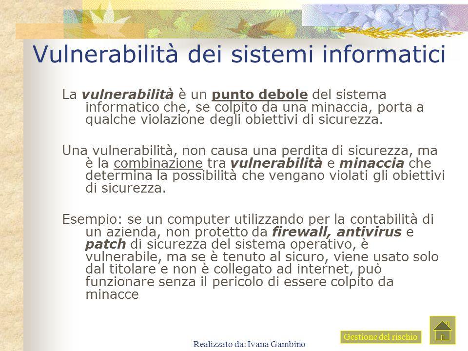 Realizzato da: Ivana Gambino Vulnerabilità dei sistemi informatici La vulnerabilità è un punto debole del sistema informatico che, se colpito da una m