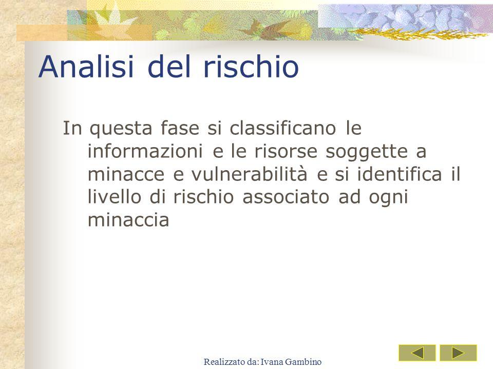 Realizzato da: Ivana Gambino Analisi del rischio In questa fase si classificano le informazioni e le risorse soggette a minacce e vulnerabilità e si i