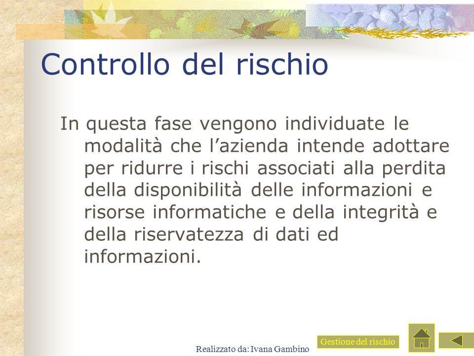 Realizzato da: Ivana Gambino Controllo del rischio In questa fase vengono individuate le modalità che l'azienda intende adottare per ridurre i rischi