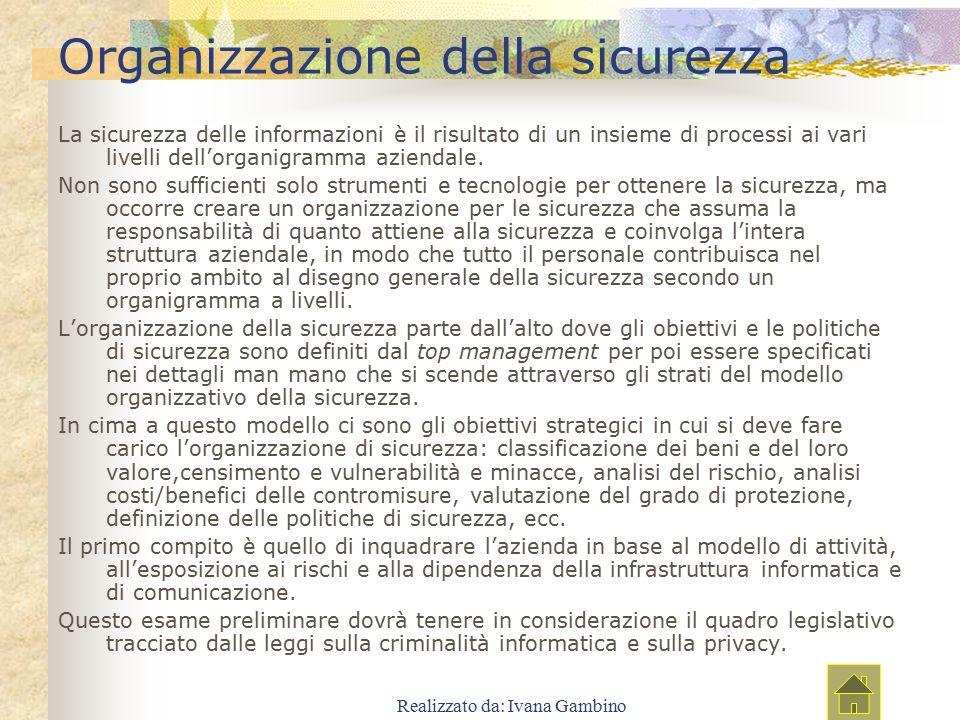 Realizzato da: Ivana Gambino Organizzazione della sicurezza La sicurezza delle informazioni è il risultato di un insieme di processi ai vari livelli d