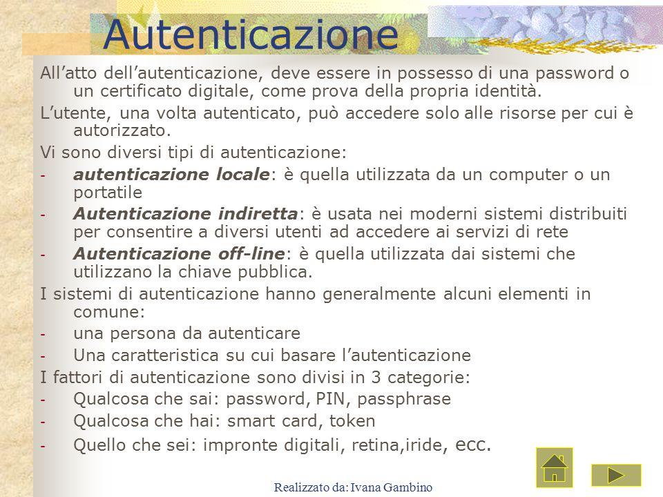 Realizzato da: Ivana Gambino Autenticazione All'atto dell'autenticazione, deve essere in possesso di una password o un certificato digitale, come prov