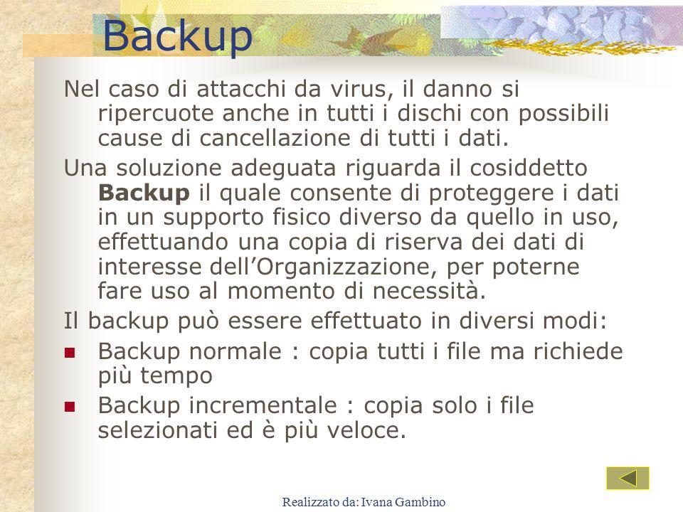 Realizzato da: Ivana Gambino Backup Nel caso di attacchi da virus, il danno si ripercuote anche in tutti i dischi con possibili cause di cancellazione