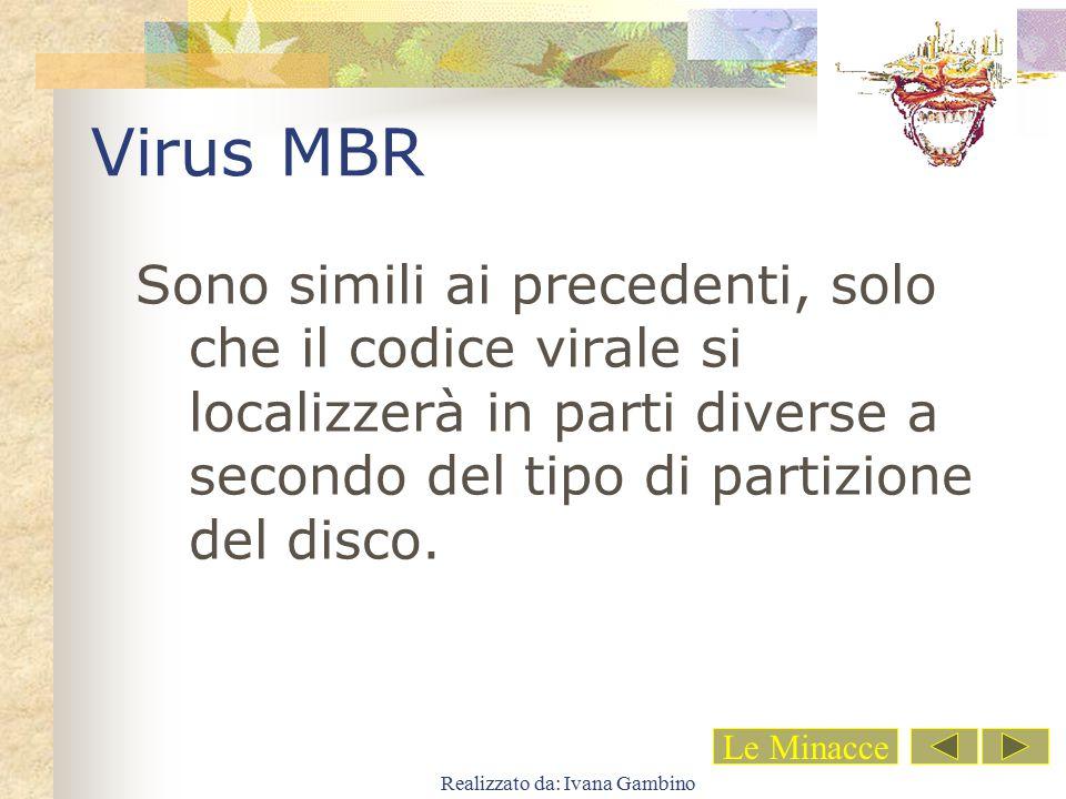 Realizzato da: Ivana Gambino Virus MBR Sono simili ai precedenti, solo che il codice virale si localizzerà in parti diverse a secondo del tipo di part