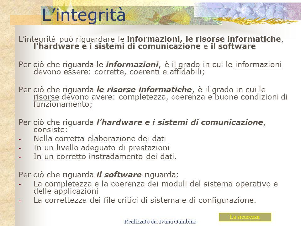 Realizzato da: Ivana Gambino L'integrità L'integrità può riguardare le informazioni, le risorse informatiche, l'hardware e i sistemi di comunicazione