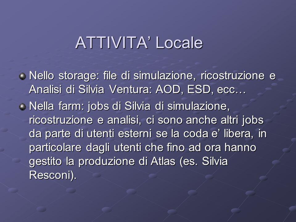 ATTIVITA' Locale Nello storage: file di simulazione, ricostruzione e Analisi di Silvia Ventura: AOD, ESD, ecc… Nella farm: jobs di Silvia di simulazio
