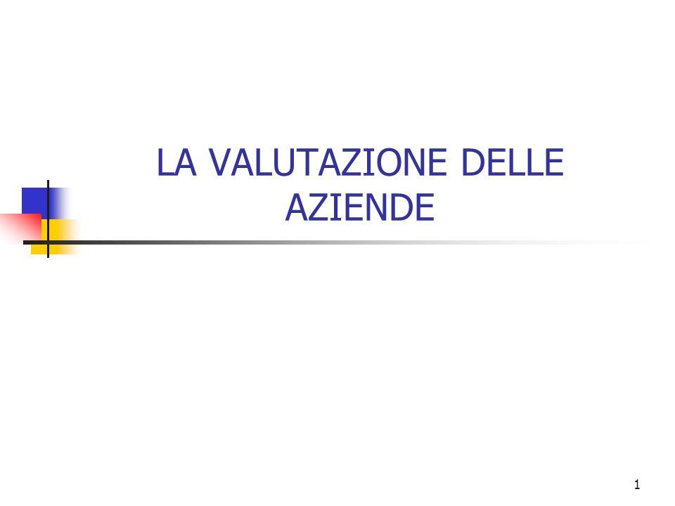 1 LA VALUTAZIONE DELLE AZIENDE