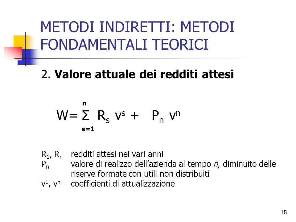 18 METODI INDIRETTI: METODI FONDAMENTALI TEORICI 2. Valore attuale dei redditi attesi n W= Σ R s v s + P n v n s=1 R 1, R n redditi attesi nei vari an