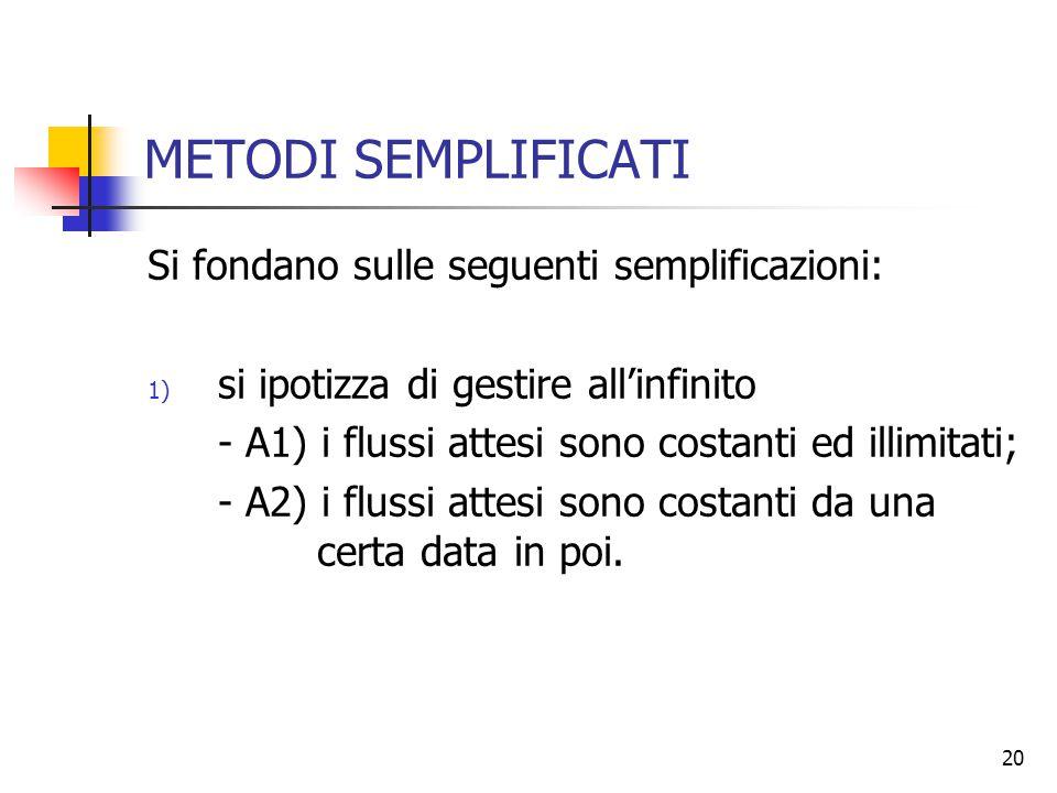 20 METODI SEMPLIFICATI Si fondano sulle seguenti semplificazioni: 1) si ipotizza di gestire all'infinito - A1) i flussi attesi sono costanti ed illimitati; - A2) i flussi attesi sono costanti da una certa data in poi.