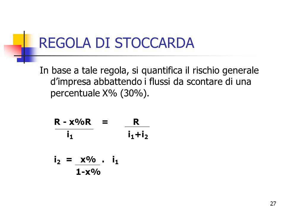 27 REGOLA DI STOCCARDA In base a tale regola, si quantifica il rischio generale d'impresa abbattendo i flussi da scontare di una percentuale X% (30%).