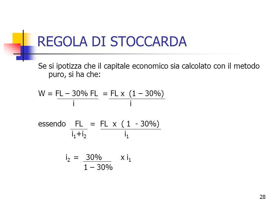 28 REGOLA DI STOCCARDA Se si ipotizza che il capitale economico sia calcolato con il metodo puro, si ha che: W = FL – 30% FL = FL x (1 – 30%) i i essendo FL = FL x ( 1 - 30%) i 1 +i 2 i 1 i 2 = 30% x i 1 1 – 30%