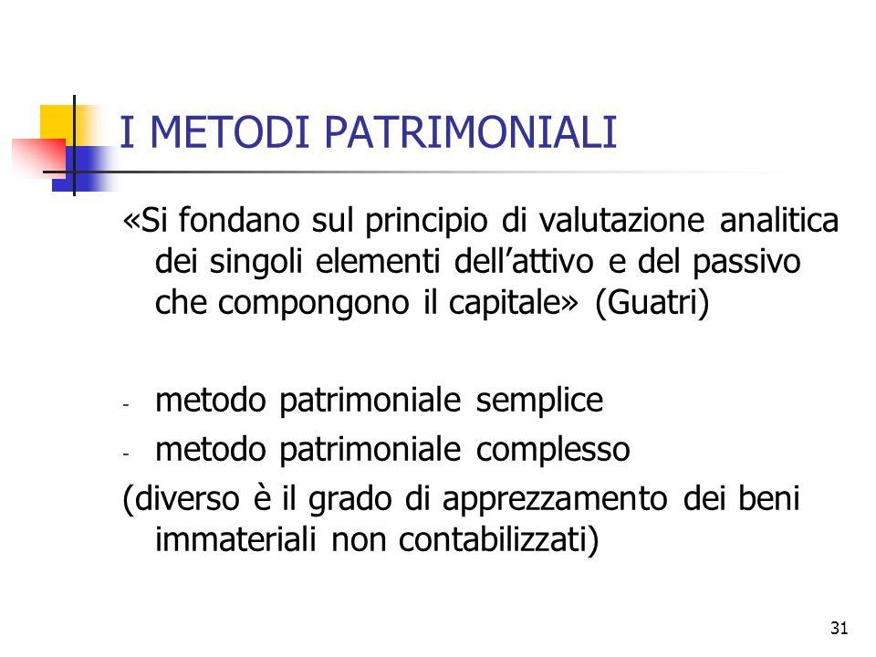 31 I METODI PATRIMONIALI «Si fondano sul principio di valutazione analitica dei singoli elementi dell'attivo e del passivo che compongono il capitale»