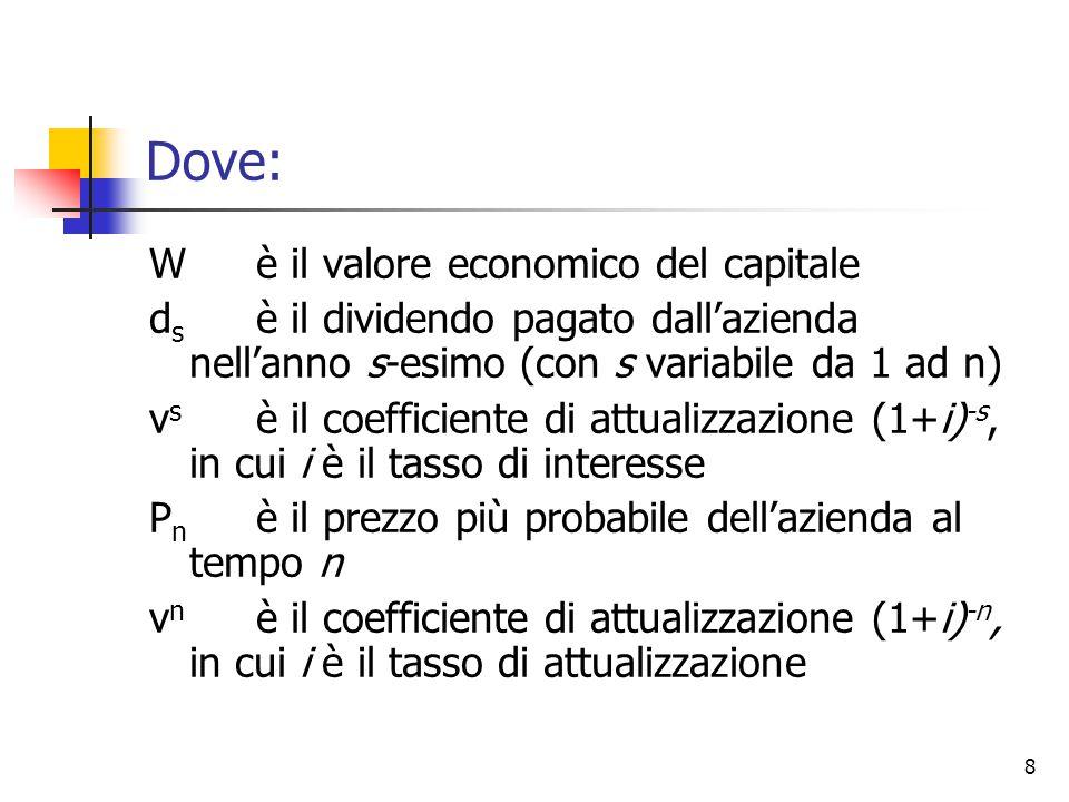 8 Dove: Wè il valore economico del capitale d s è il dividendo pagato dall'azienda nell'anno s-esimo (con s variabile da 1 ad n) v s è il coefficiente di attualizzazione (1+i) -s, in cui i è il tasso di interesse P n è il prezzo più probabile dell'azienda al tempo n v n è il coefficiente di attualizzazione (1+i) -n, in cui i è il tasso di attualizzazione