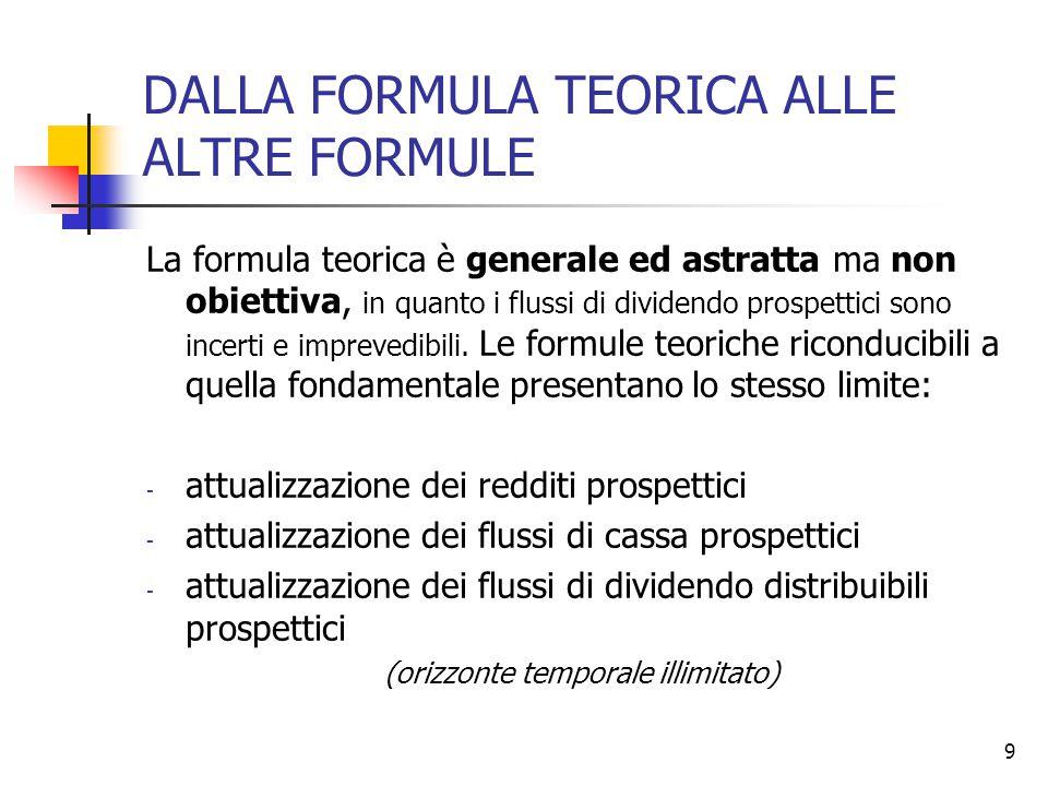 9 DALLA FORMULA TEORICA ALLE ALTRE FORMULE La formula teorica è generale ed astratta ma non obiettiva, in quanto i flussi di dividendo prospettici sono incerti e imprevedibili.