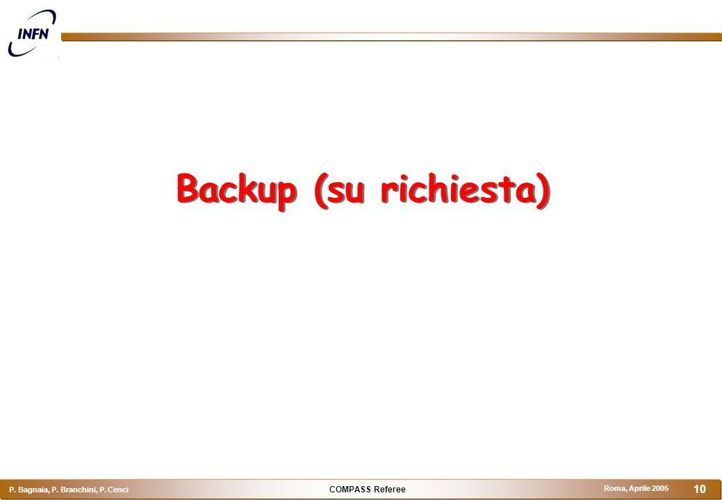 COMPASS Referee P. Bagnaia, P. Branchini, P. Cenci Roma, Aprile 2005 10 Backup (su richiesta)