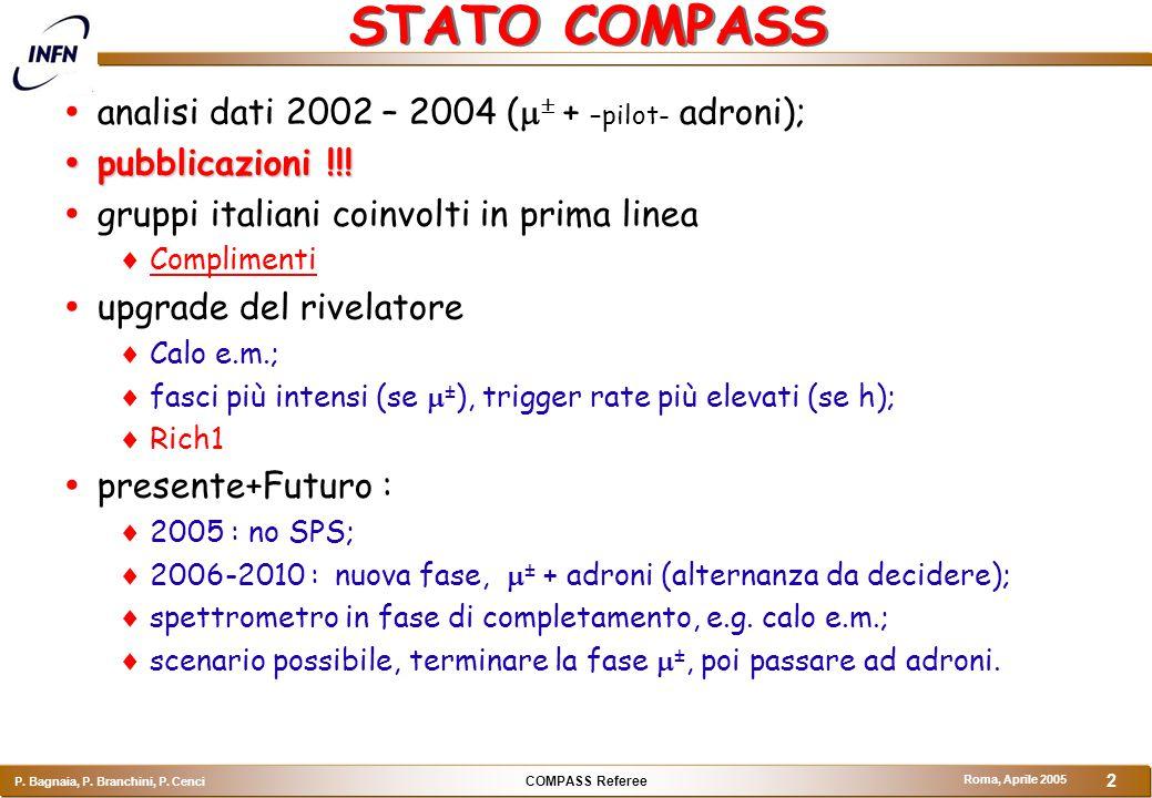 COMPASS Referee P. Bagnaia, P. Branchini, P. Cenci Roma, Aprile 2005 3 Compass 2004