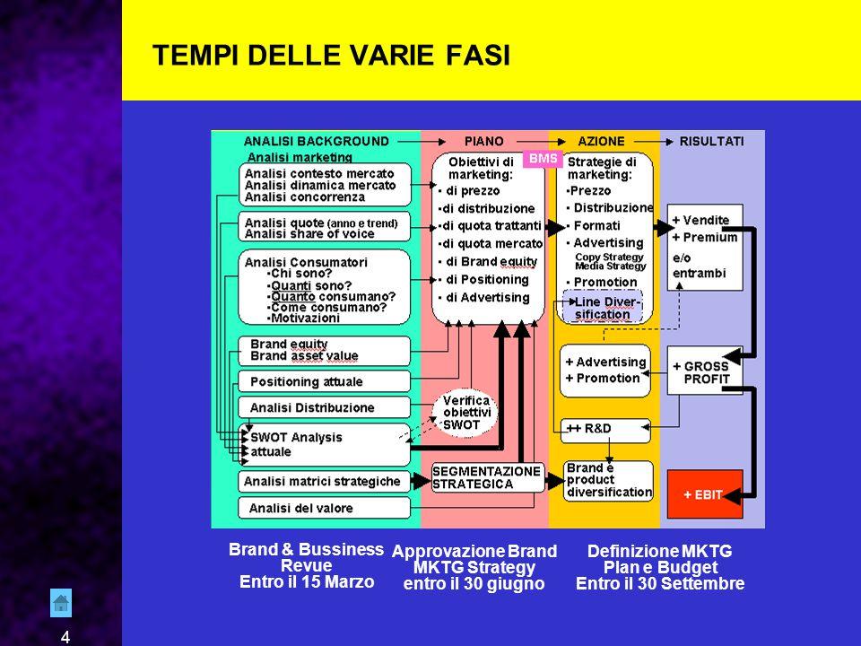 4 TEMPI DELLE VARIE FASI Brand & Bussiness Revue Entro il 15 Marzo Approvazione Brand MKTG Strategy entro il 30 giugno Definizione MKTG Plan e Budget Entro il 30 Settembre