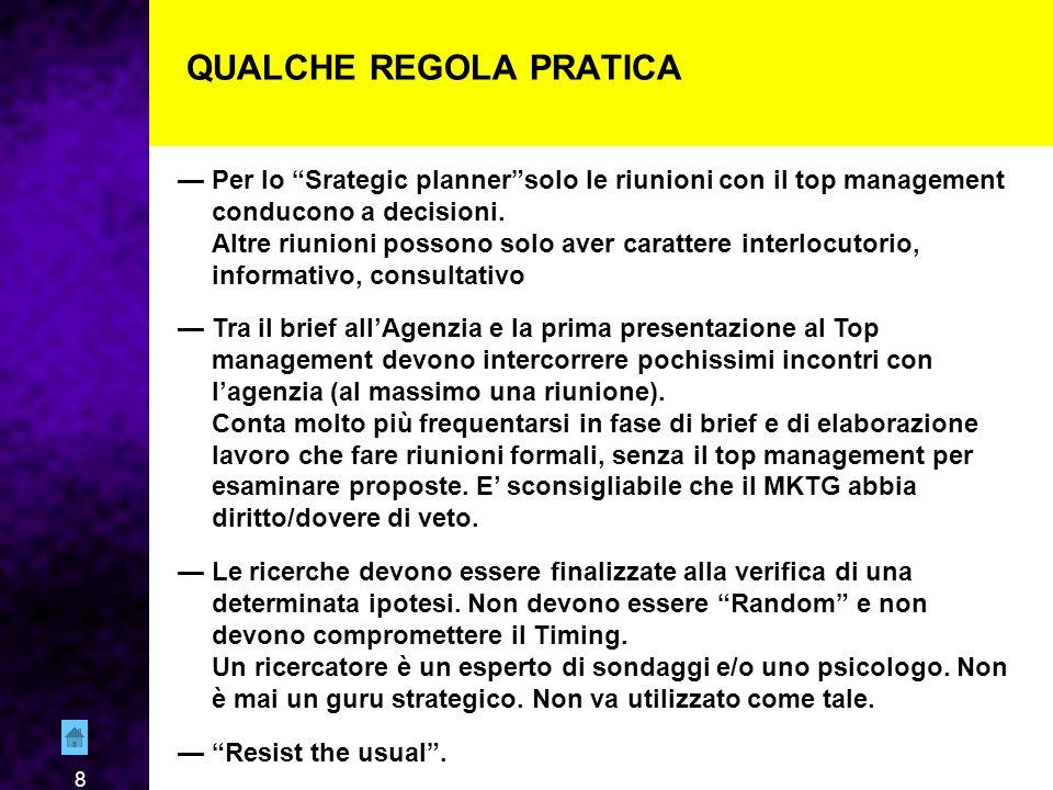 8 QUALCHE REGOLA PRATICA — Per lo Srategic planner solo le riunioni con il top management conducono a decisioni.