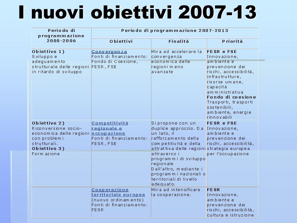 I nuovi obiettivi 2007-13