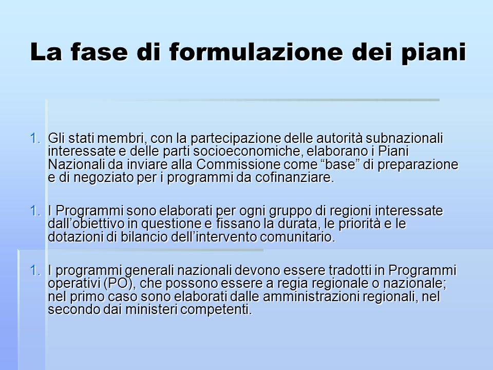La fase di formulazione dei piani 1.Gli stati membri, con la partecipazione delle autorità subnazionali interessate e delle parti socioeconomiche, elaborano i Piani Nazionali da inviare alla Commissione come base di preparazione e di negoziato per i programmi da cofinanziare.