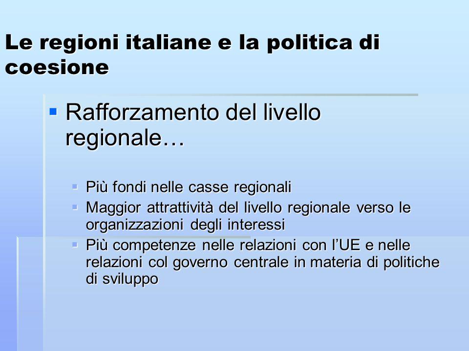 Le regioni italiane e la politica di coesione  Rafforzamento del livello regionale…  Più fondi nelle casse regionali  Maggior attrattività del livello regionale verso le organizzazioni degli interessi  Più competenze nelle relazioni con l'UE e nelle relazioni col governo centrale in materia di politiche di sviluppo