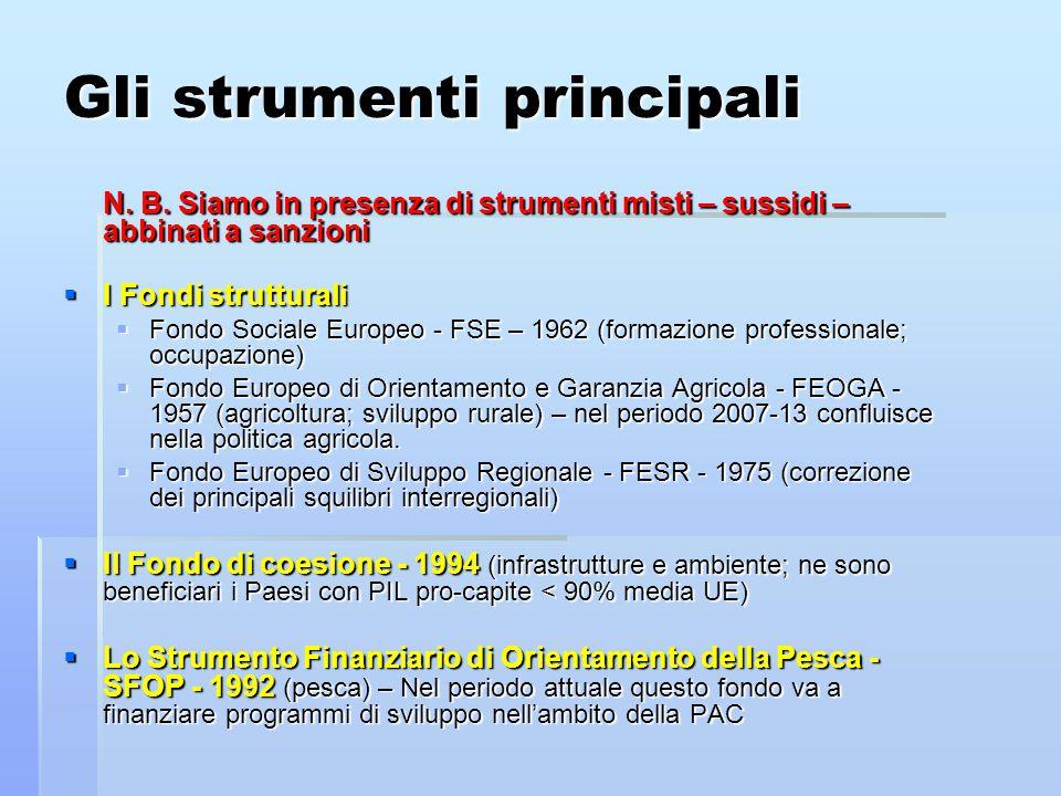 Gli strumenti principali N. B. Siamo in presenza di strumenti misti – sussidi – abbinati a sanzioni  I Fondi strutturali  Fondo Sociale Europeo - FS