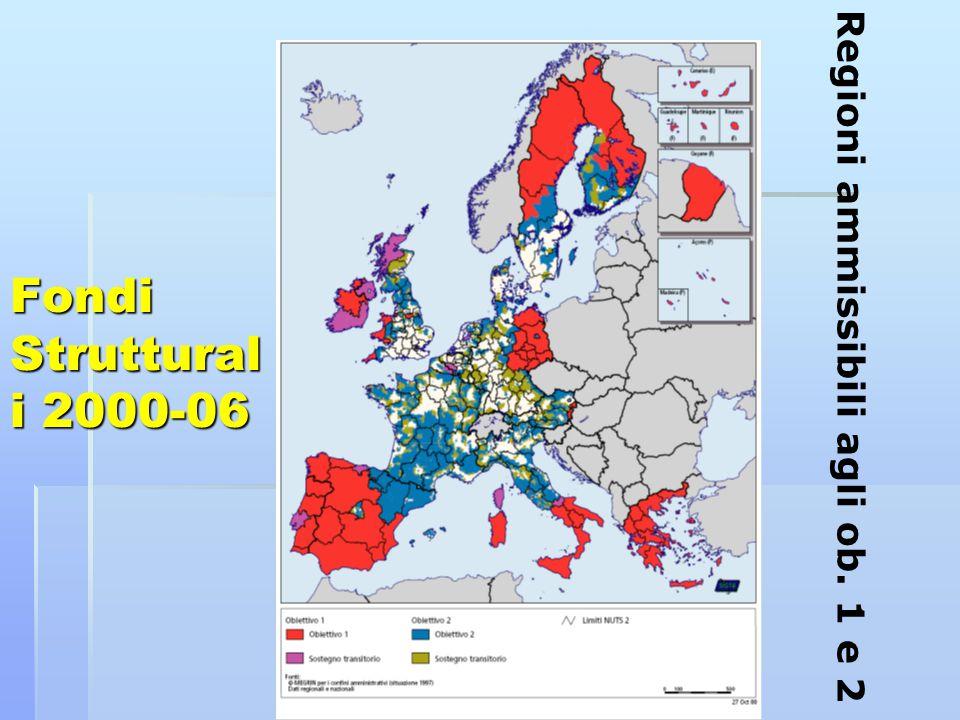 Fondi Struttural i 2000-06 Regioni ammissibili agli ob. 1 e 2
