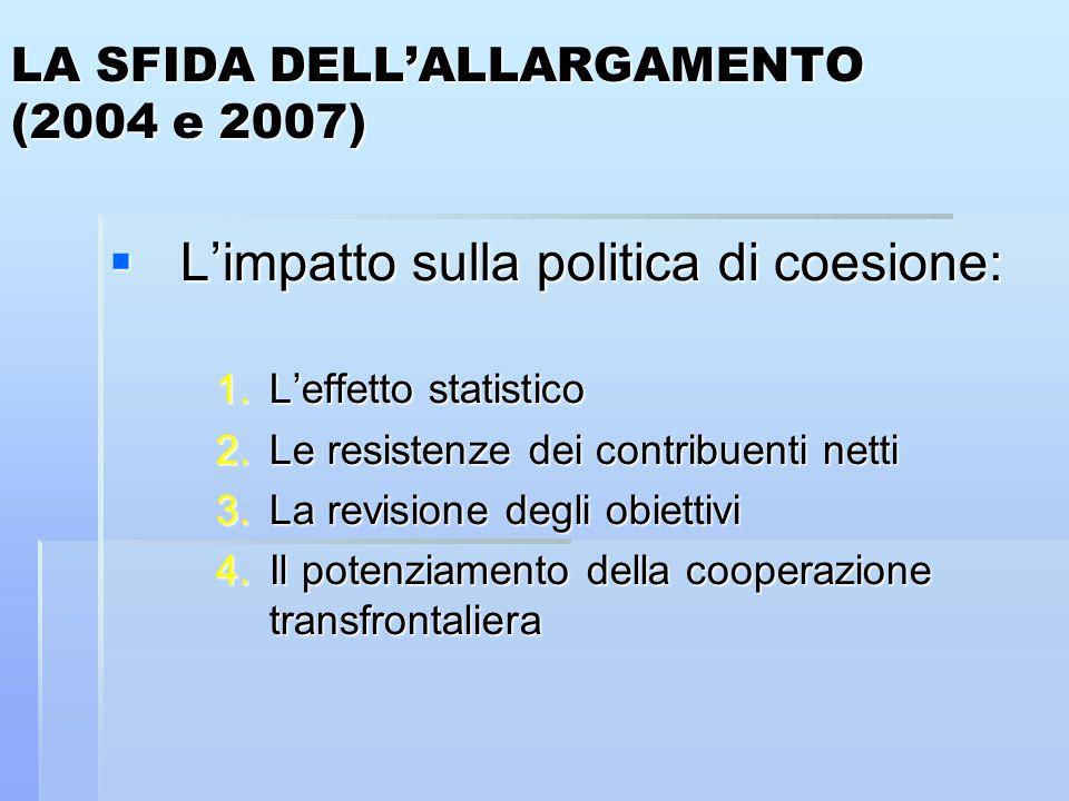 LA SFIDA DELL'ALLARGAMENTO (2004 e 2007)  L'impatto sulla politica di coesione: 1.L'effetto statistico 2.Le resistenze dei contribuenti netti 3.La revisione degli obiettivi 4.Il potenziamento della cooperazione transfrontaliera