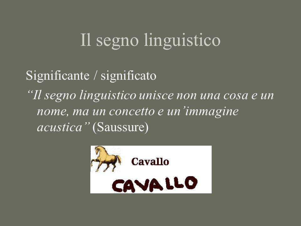 """Il segno linguistico Significante / significato """"Il segno linguistico unisce non una cosa e un nome, ma un concetto e un'immagine acustica"""" (Saussure)"""