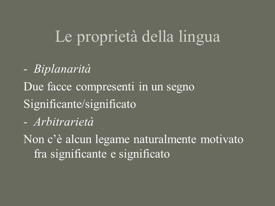 Le proprietà della lingua -Biplanarità Due facce compresenti in un segno Significante/significato -Arbitrarietà Non c'è alcun legame naturalmente moti