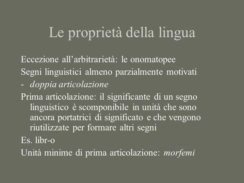 Le proprietà della lingua Eccezione all'arbitrarietà: le onomatopee Segni linguistici almeno parzialmente motivati -doppia articolazione Prima articol