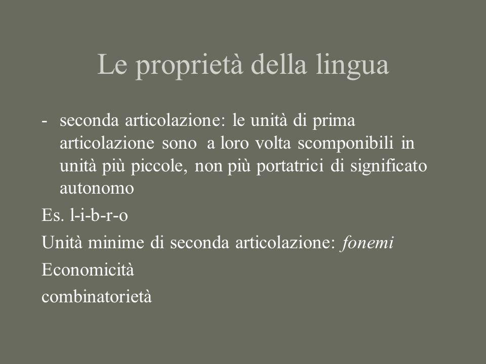 Le proprietà della lingua -seconda articolazione: le unità di prima articolazione sono a loro volta scomponibili in unità più piccole, non più portatr
