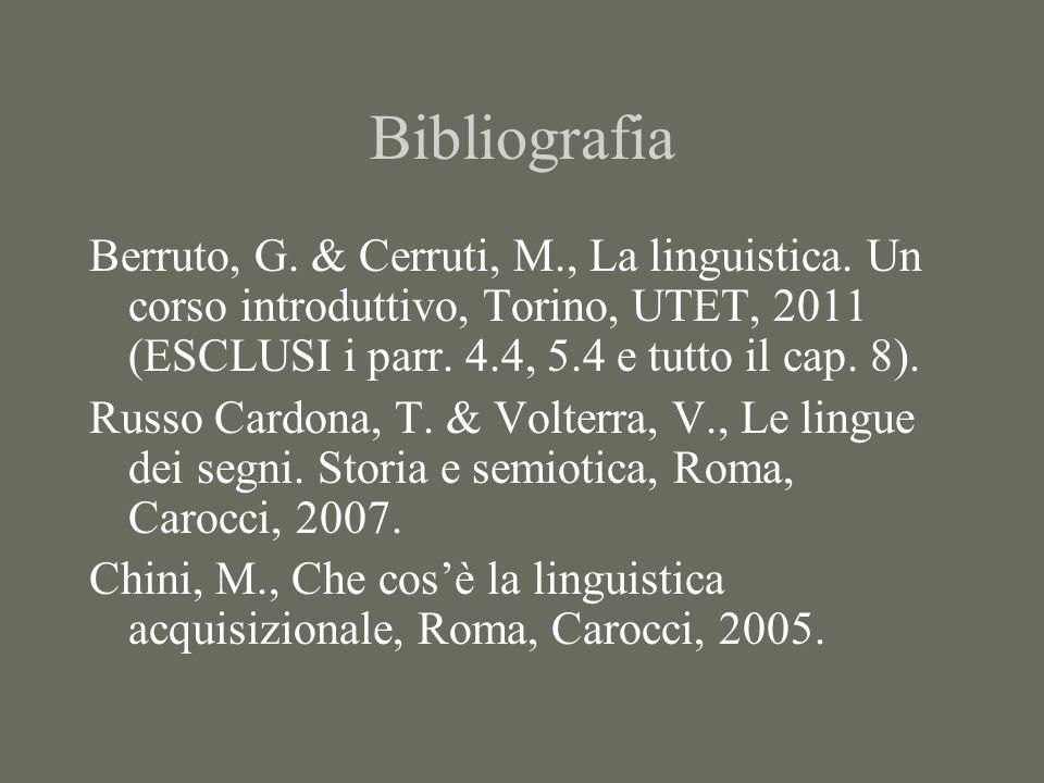 Bibliografia Berruto, G. & Cerruti, M., La linguistica. Un corso introduttivo, Torino, UTET, 2011 (ESCLUSI i parr. 4.4, 5.4 e tutto il cap. 8). Russo