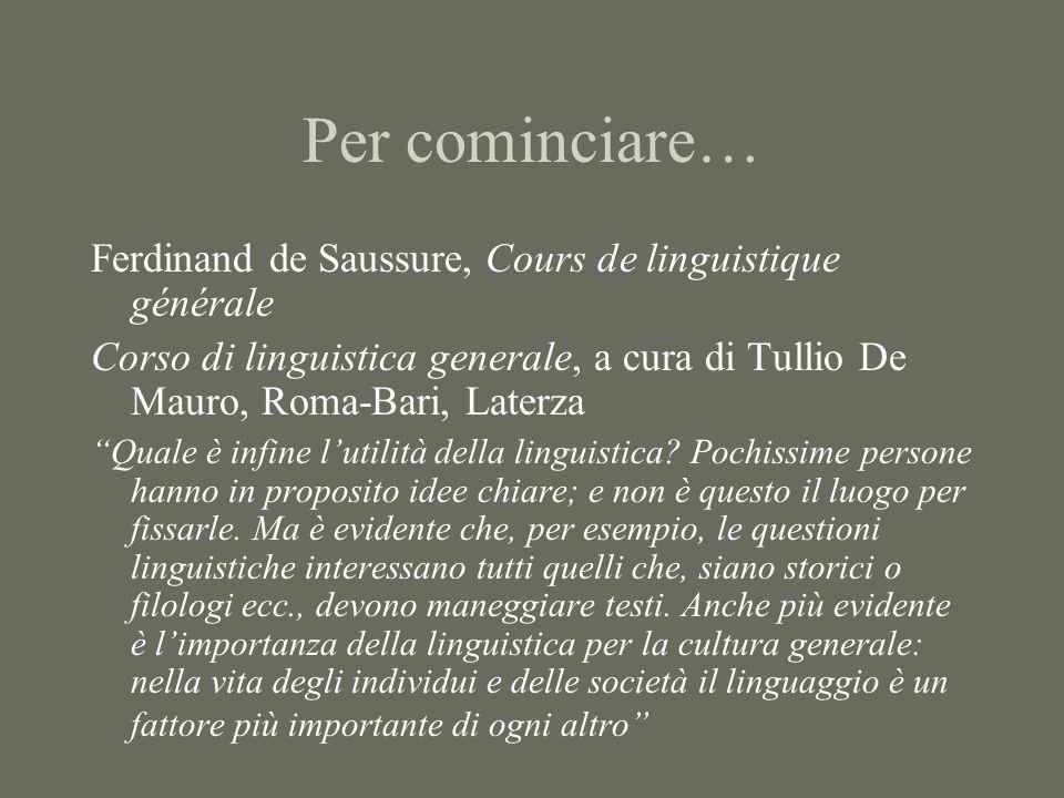 """Per cominciare… Ferdinand de Saussure, Cours de linguistique générale Corso di linguistica generale, a cura di Tullio De Mauro, Roma-Bari, Laterza """"Qu"""